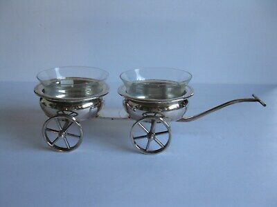 F.b.rogers Silver Plate Wine Coaster Trolley With Glass Inserts