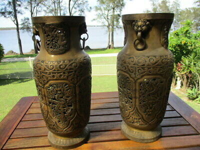 Antique Chinese  Matching Pair Bronzed Ming (Xuande 1425-1435) Temple Vessels