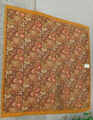 Early Printed Cotton Fabric Coverlet Comforter Quilt Brown Gold  Japanese 1865