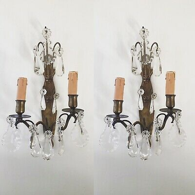 * Pair Antique French Ornate Double 2 Crystal Candle Sconce Electric Wall Lights