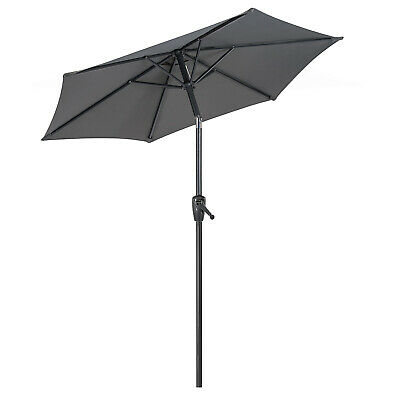 Garden Parasol 2m Tilting Sun Shade Umbrella Crank Handle Navy Cream Christow