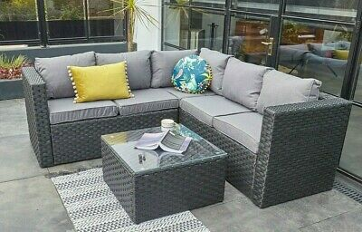 Outdoor Rattan Garden Furniture 5 Seater Corner Sofa Patio Set Black coffeetable