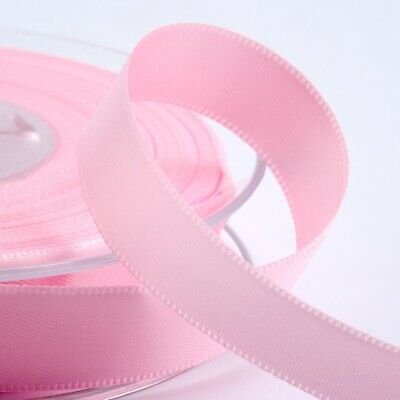 Pale Pink Satin Ribbon Double Sided Full Roll 3mm 6mm 10mm 16mm 25mm 38mm 50mm