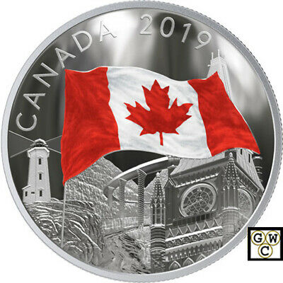 2019 'The Fabric of Canada' Colorized Proof $30 Silver Coin 2oz .9999Fine(18784)