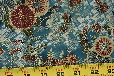 Fabric #2140 Asian Red Floral on Swirled Background Kona Bay Sold by 1//2 Yd