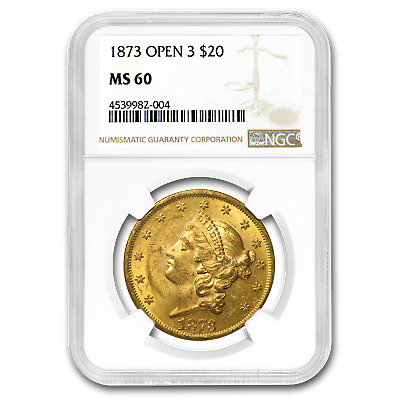 1873 $20 Liberty Gold Double Eagle Open 3 MS-60 NGC - SKU#25690