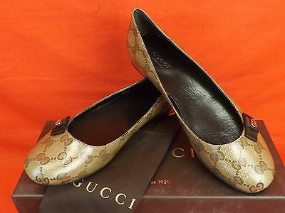 Gucci 317040 Crystal Beige Gg Guccissima Coated Canvas Gold Tone Logo Flats 37