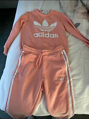 Adidas Pink Childrens Tracksuit Size 6-7 only worn once