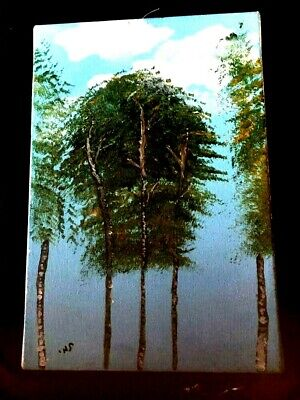 Vintage Rare Old picture Art Hand painted oil painting Large trees forest amazin