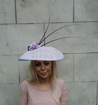 Large Lilac Light Purple Dark Purple Flower Hat Feather Races Wedding Big a9