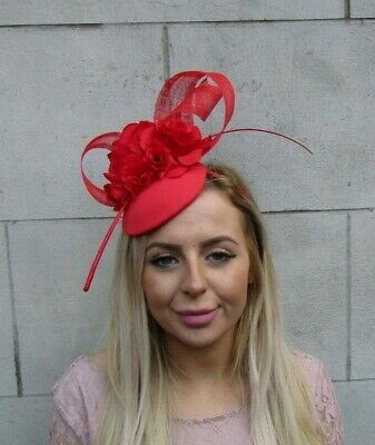 Bright Red Rose Flower Feather Hat Fascinator Floral Bow Ascot Headpiece 0089