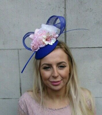 Royal Blue Blush Pink Light Nude Flower Feather Hat Fascinator Hair Floral 0091