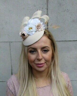 Light Beige White Ivory Nude Flower Feather Pillbox Hat Fascinator Floral 0094