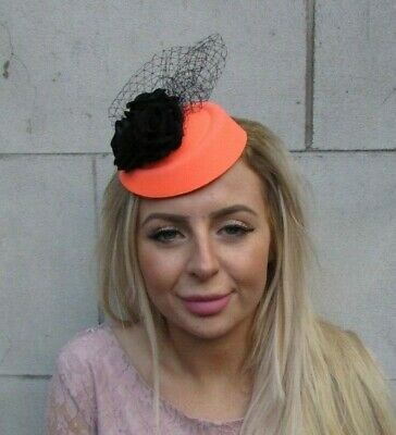 Orange & Black Rose Flower Net Pillbox Hat Fascinator Hair Clip Vtg Races 0099