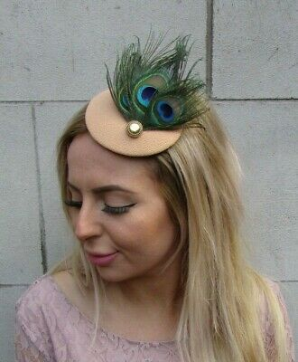 Sand Peach Beige Green Peacock Feather Hat Fascinator Hair Clip Small Races 0103