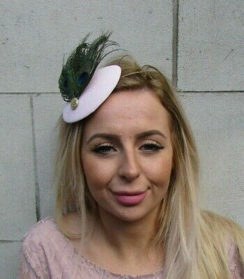 Pale Pink Light Blush Green Peacock Feather Hat Fascinator Hair Clip Small 0104