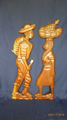 Vintage Carved Wood African Wall Art Folk Art Man Woman Gathering Food Set of 2