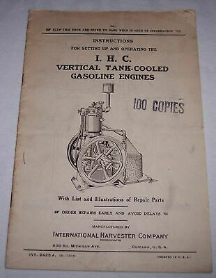 1924 International Harvester I.H.C. Vertical Tank Cooled Gasoline Engines manual