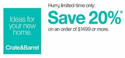Crate and Barrel 20% off RARE 1COUPON - works on furniture- exp. 06-02-20 - FAST