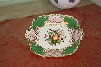 Antique Worcester, Hand Painted and Gilt Cake Plate In Excellent Condition