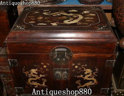 """18"""" Old Chinese Huanghuali Wood Dragon Stockpile Case Casket Drawer Jewelry Box"""
