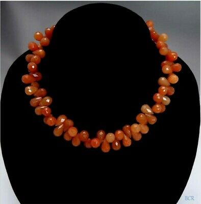 """17"""" Garnish Faceted Briolette Carnelian Stone Beaded Necklace with Toggle Clasp"""