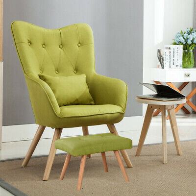 Wing Back Accent Armchair Fabric Lounge Tub Leisure Chairs W/ No Footstool Green