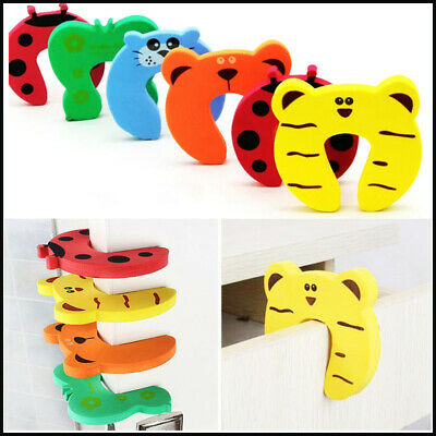 5/10pcs Baby Safety Cartoon Gate Card Security Door Stopper Protector Clip Clamp