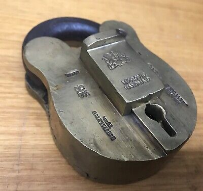 Antique VR 1837-1901 Brass Padlock Government Public Building Vintage Lock Tool