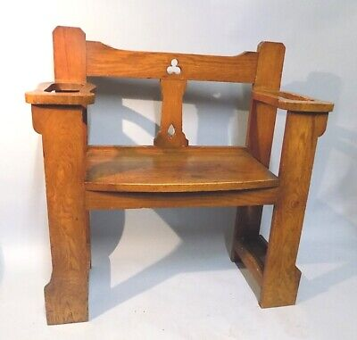 Antique Oak Arts and Crafts Liberty Style Hall Seat. Umbrella Stand. Useful.