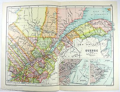 Original 1909 Map of Quebec, Canada - by John Bartholomew. Antique