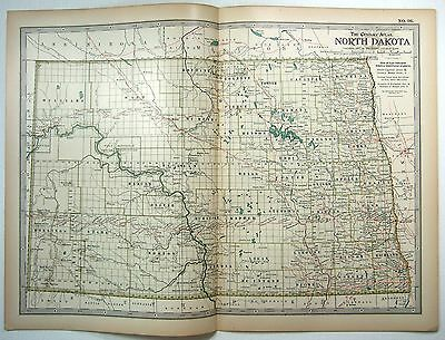 Original 1897 Map of North Dakota by The Century Company. Antique