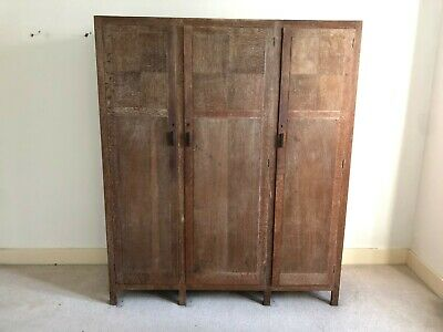 Heal & Son Ltd London Antique Vintage Oak Triple Wardrobe