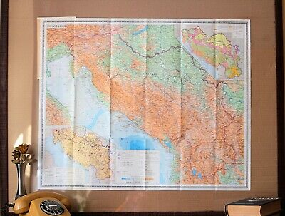 Map of Yugoslavia Vintage Balkans Map Old Folding Paper Geography School Map