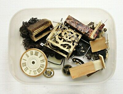Antique / Vintage Cuckoo Clock Parts Incl. Movement, Bellows, Hands, Dial, Chain