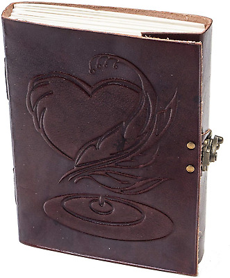 Leather Journals Large Vintage Heart Embossed Leather Journal Notebook Diary -