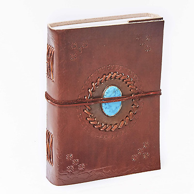 Fair Trade Embossed Turquoise Stone Leather Journal Notebook 13.5 x 18.5 cm and