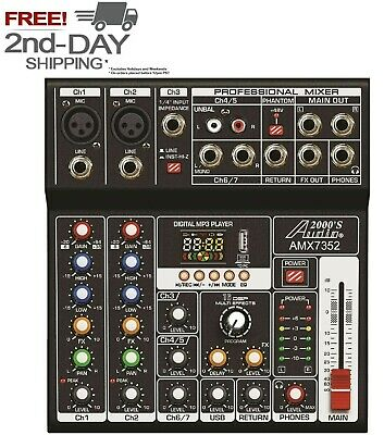 Audio2000'S AMX7352 7 Channel Audio Mixer with USB 5V Power Supply USB/PC - MR