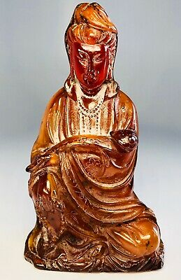 Antique 18th/19th Century Chinese Hand-Carved Amber Buddhist Guan Yin Statue 6""