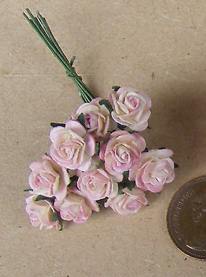 1:12 scale Single Bunch 10 fleurs de Papier Rose Roses tumdee maison de poupées K