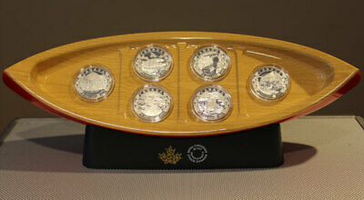 16959 2015 Complete Set of 6 'Canoe Across Canada' Proof $10 Silver Coins 1/2oz