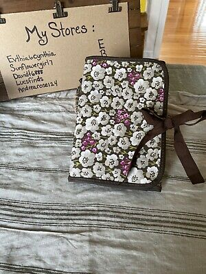 Thirty-One 31 Brown W/Multicolor Whimsical Flowers Tie Document Organizer Ec
