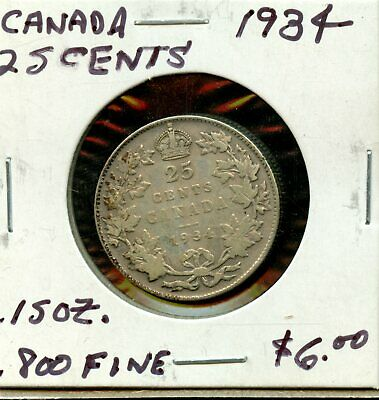 1934 Canada 25 Cents Canadian Silver Coin FR171