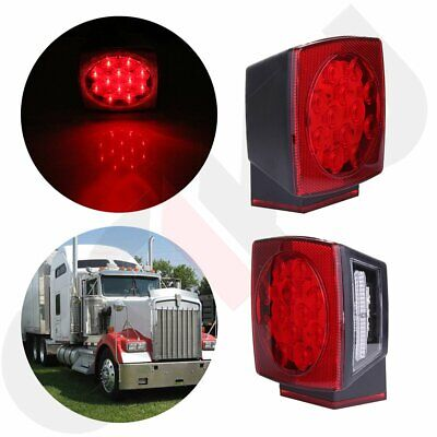 "2X LED Submersible SQ Red Trailer Lights Kit Under 80"" Stop License Tail Brake"