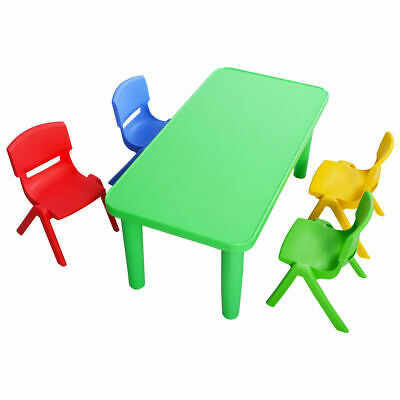 Kids Plastic Table& 4 Chairs Set Studying Playing Desk Colorful Home