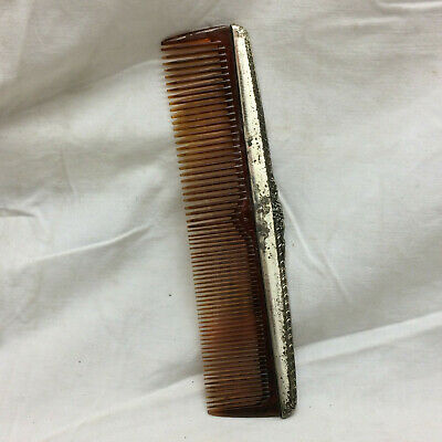 Vintage S&B Sterling Hair Comb Ornate Design Marked