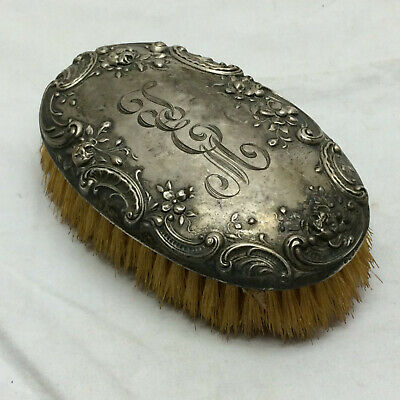 Vintage Sterling Hair Brush Ornate Flower Design Marked