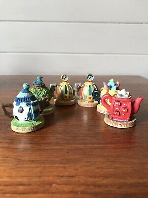 Six Vintage Miniature Tetley Tea Folk Teapots England See Photos