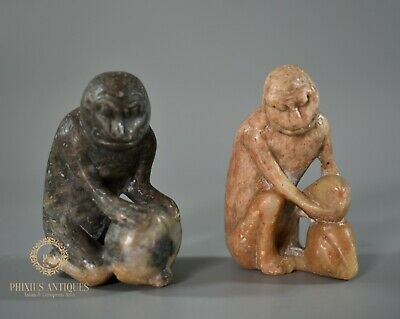 A Pair Of Antique Chinese Carved Soapstone Monkey & Peach Figures