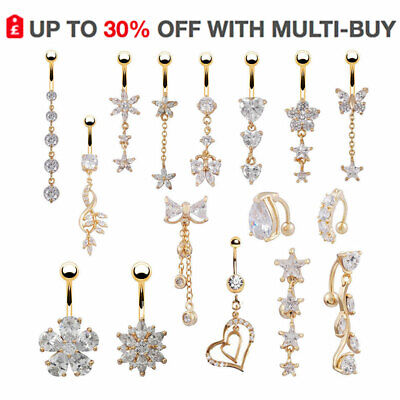 Dangly Gold Belly Button Bars Navel Rings Dangle Drop UK Body Piericng Jewellery